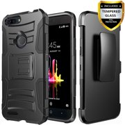 ZTE Blade ZMax Phone Case, ZTE Sequoia Case, [Combo Holster] Cover And Built-In Kickstand Bundled with [Tempered Glass Screen Protector] And Circlemalls Stylus Pen For ZTE Blad Z Max (Black)