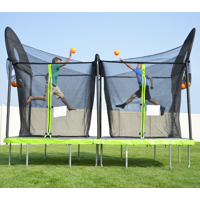 Trujump 12 x 6 Foot Battle Ball Trampoline, with Enclosure, Green