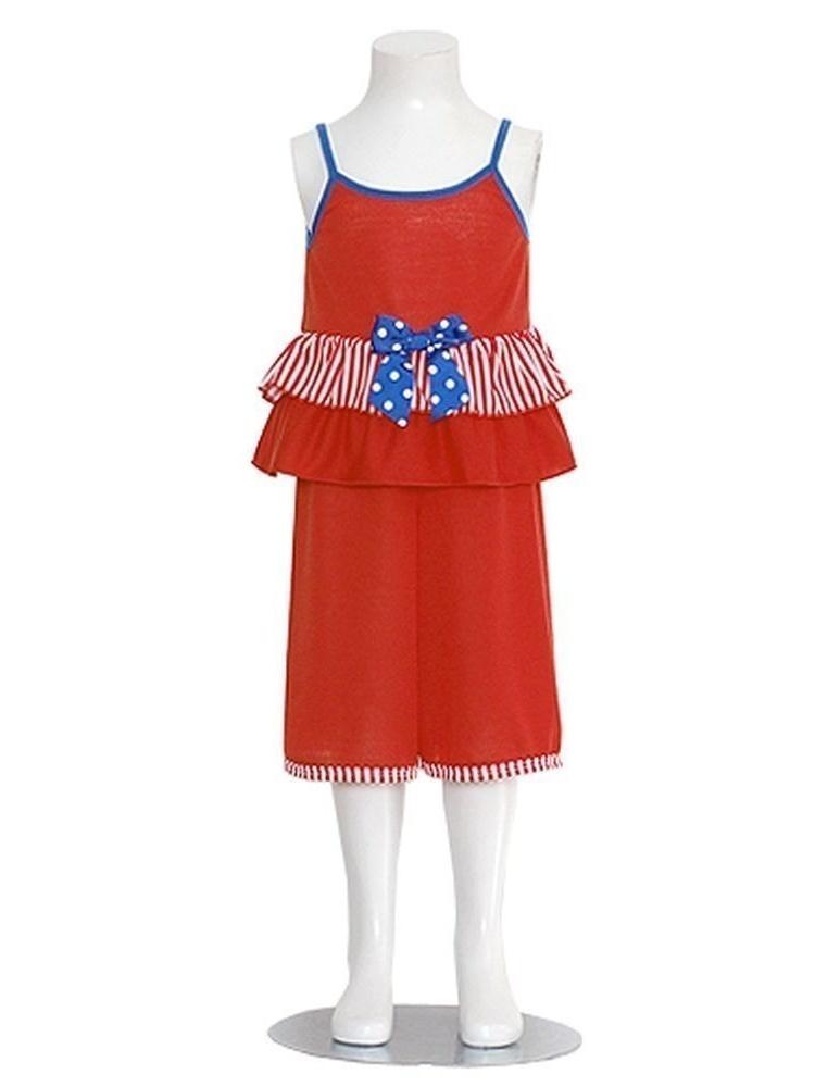 Baby Girls 3M Red White Blue Stripe 2pc Pajama Capris Set