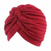 Women's Pleated Ruffle Chemo Knit Tied Turban Cap Muslim Head Scarf Hat Headwrap