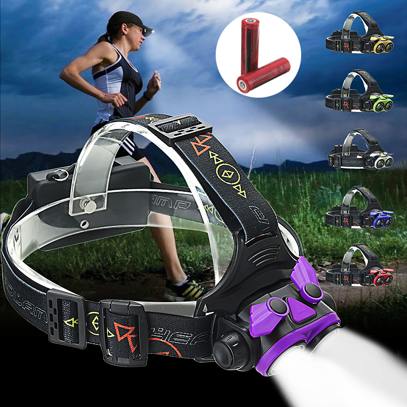 5000Lumens 2x T6 LED Zoomable Headlamp Headlight Head Torch USB Rechargeable 4-Modes with 2Pcs 18650 Battery