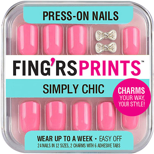 Fing'rs Prints Simply Chic Press-On Nails, Pretty in Pink, 26 count