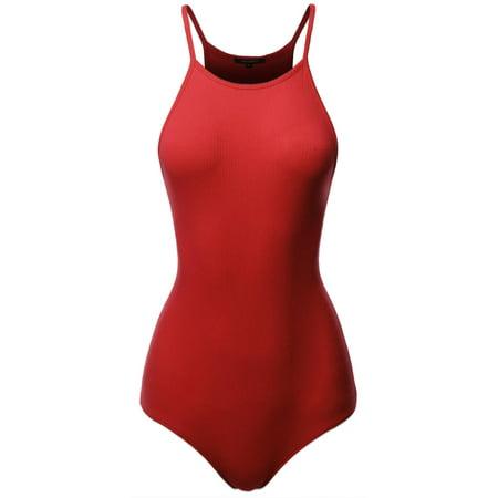 FashionOutfit Women's Solid Ribbed High Neck Bodysuit (Petit Bateau Cotton Bodysuit)