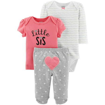 Child Of Mine By Carter's Long Sleeve Bodysuit, T-Shirt & Pants, 3pc Outfit Set (Baby Girls) - Baby Shower Outfits For Guests