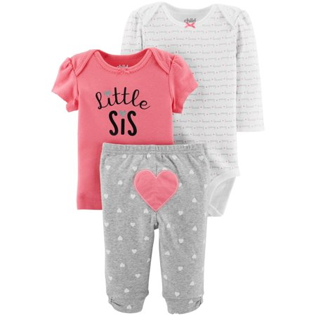 Baby Girl Keepsake (Child Of Mine By Carter's Long Sleeve Bodysuit, T-Shirt & Pants, 3pc Outfit Set (Baby Girls))