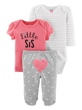 a40150657 Product Image Child Of Mine By Carter's Long Sleeve Bodysuit, T-Shirt &  Pants, 3pc