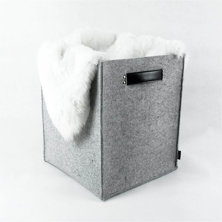Lavievert Felt Storage Box with Genuine Leather Handle - Felt Baskets