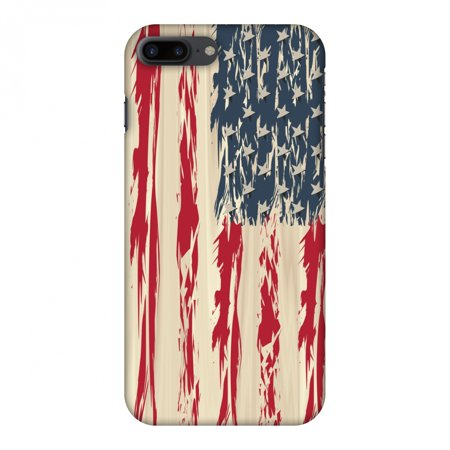 iPhone 8 Plus Case - USA flag- Paint splashes, Hard Plastic Back Cover, Slim Profile Cute Printed Designer Snap on Case with Screen Cleaning Kit