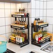 Metal Kitchen Spice Rack Countertop Standing Corner Shelf Removable Seasoning Organizer Jars Bottle Storage Knife Utensils Holder Kitchen Storage Organizer, 2 Tier /3 Tier