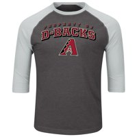Men's Majestic Charcoal/Heathered Gray Arizona Diamondbacks Big & Tall Strength Training Raglan 3/4-Sleeve T-Shirt