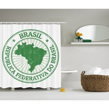 Grunge Rubber Stamp With The Name Brasil Map Forest Green Atlas Shower Curtain