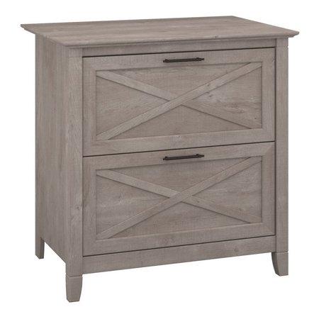 "Key West 2 Piece 54"" Single Pedestal Desk and File Cabinet Set in Washed Gray - image 7 de 17"