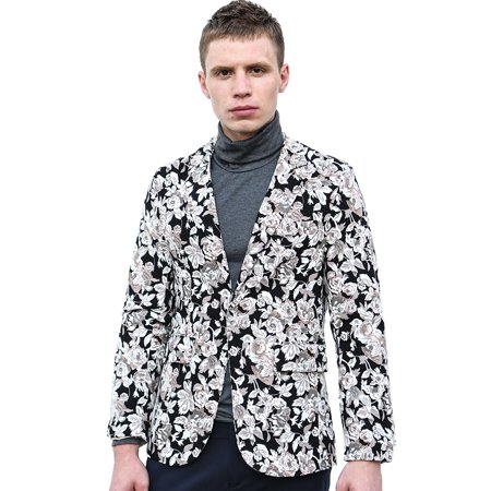 Single Breasted Mens Blazer - Unique Bargains Men's Floral Print Long Sleeve Single Breasted Casual Blazer Jacket