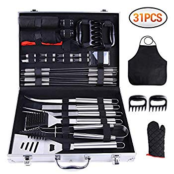 Image of 31-PCS BBQ Tool Set, Grill Accessories Set Heavy Duty Stainless Steel, Barbecue Grill Utensils with Aluminium Case, Grilling Tools with Barbecue Claws Set for Men Birthday Christmas