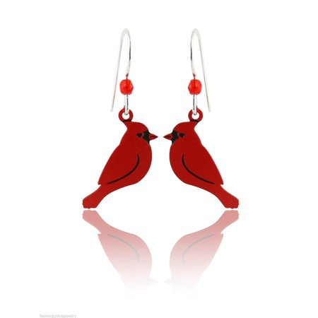 Hand Painted Red Cardinal Earrings, Sterling Silver Ear Wires Painted Lace Earrings