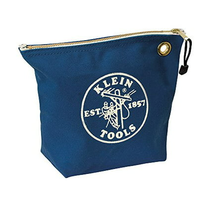 Klein Tools 5539BLU Canvas Zipper Pouch, 10-Inch Tool Bag Storage Organizer, Blue Klein Tools Canvas Zipper Bag