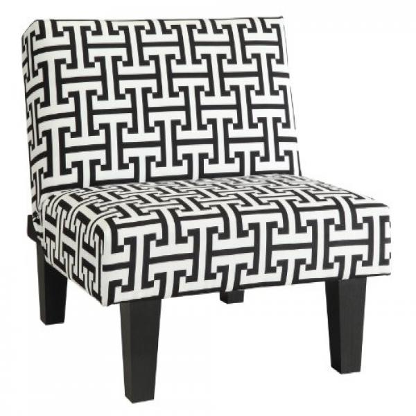 Kebo Chair, Black and White Geometric Pattern with Dark Legs Multi Position Chair, Sitter, Sleeper