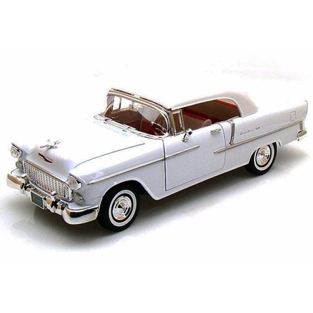 1955 Chevy Bel Air Closed Convertible, White - Motormax Premium American 73184 - 1/18 Scale Diecast Model Car