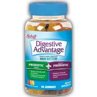 2 Pack - Digestive Advantage Probiotic Gummies Plus Fiber, 65 count