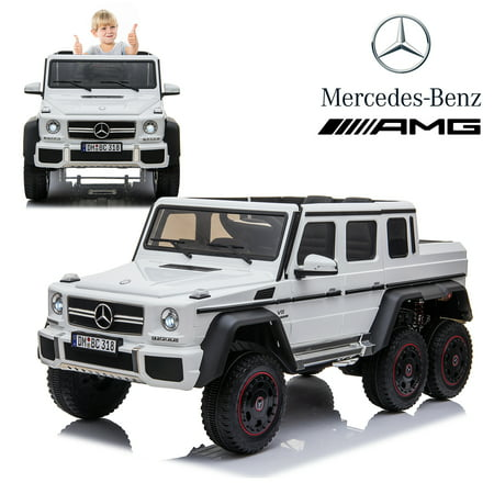 Licensed Mercedes Benz AMG G63 6x6 Kids Ride On Car with 2.4G Remote Control, 12V 4 Motors, Stroller Function, Openable Doors, Spring Suspension, USB MP3 Player & Bluetooth