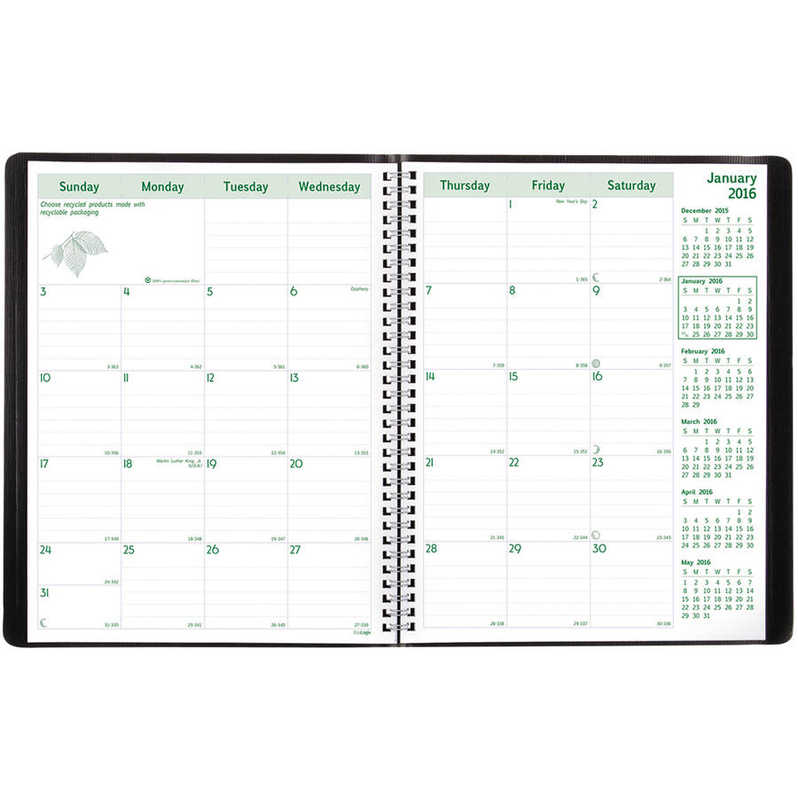Ecologix Recycled Monthly Planner, 11 X 8-1/2, Black Soft Cover, 2016-2017