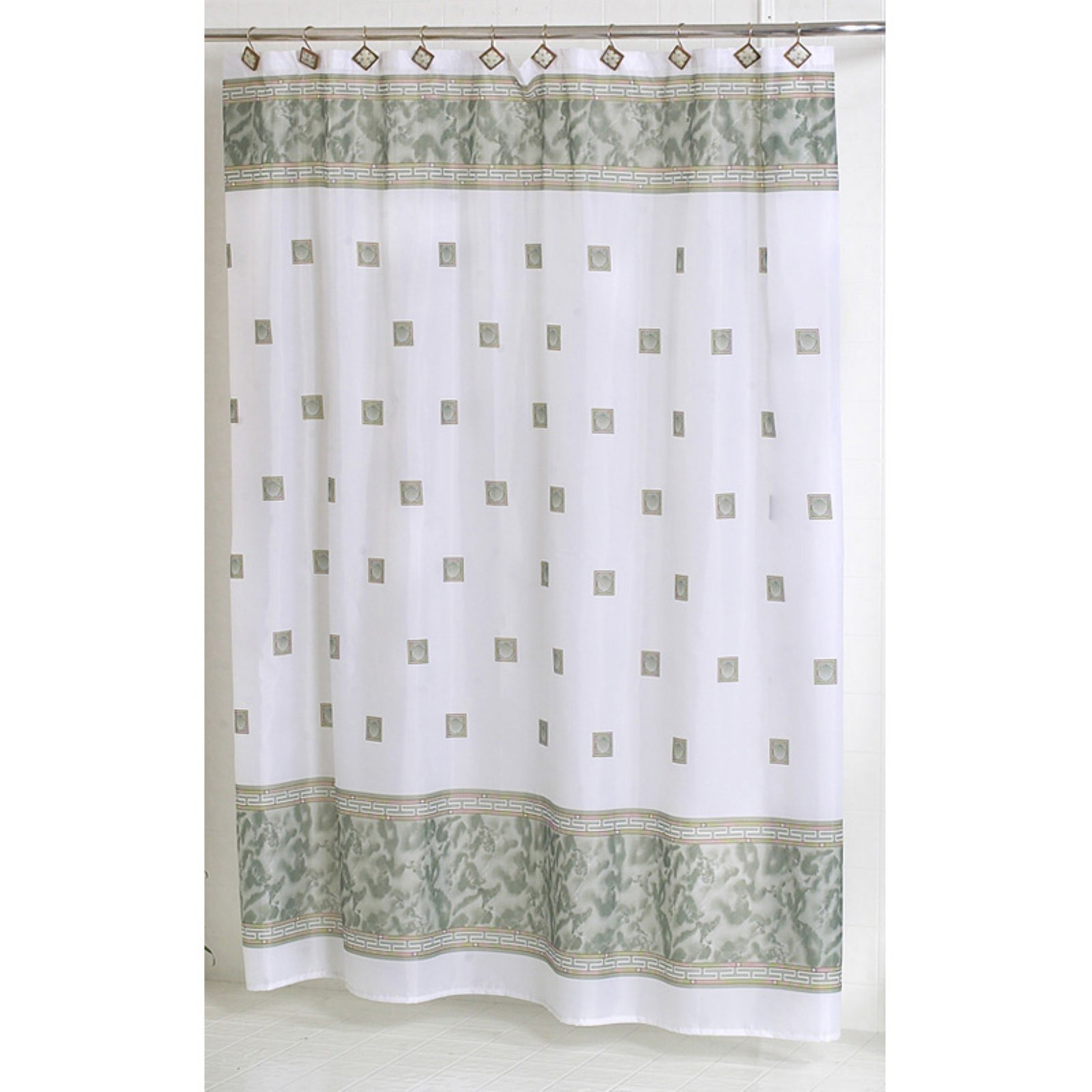 """Windsor"" Fabric Shower Curtain in Jade"