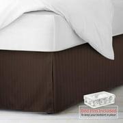 "Nestl Bedding Pleated Bed Skirt - Damask Dobby Stripe Bed Skirt - Luxury Microfiber Dust Ruffle - 14"" Tailored Drop - Bonus Bed Skirt Pins Set of 8 Included - Full, Brown"