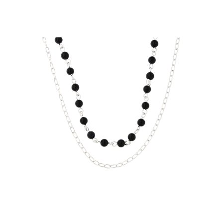 Sterling Silver Rhodium Plated Simulated Onyx Black Bead Double Chain Layered Choker Necklace, 15