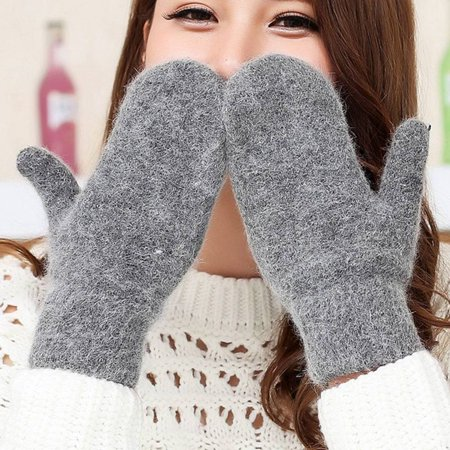 KABOER Double-Layer Rabbit Hair Gloves Female Winter Solid Color Winter Women Gloves Girls Mittens Double Layer Mittens