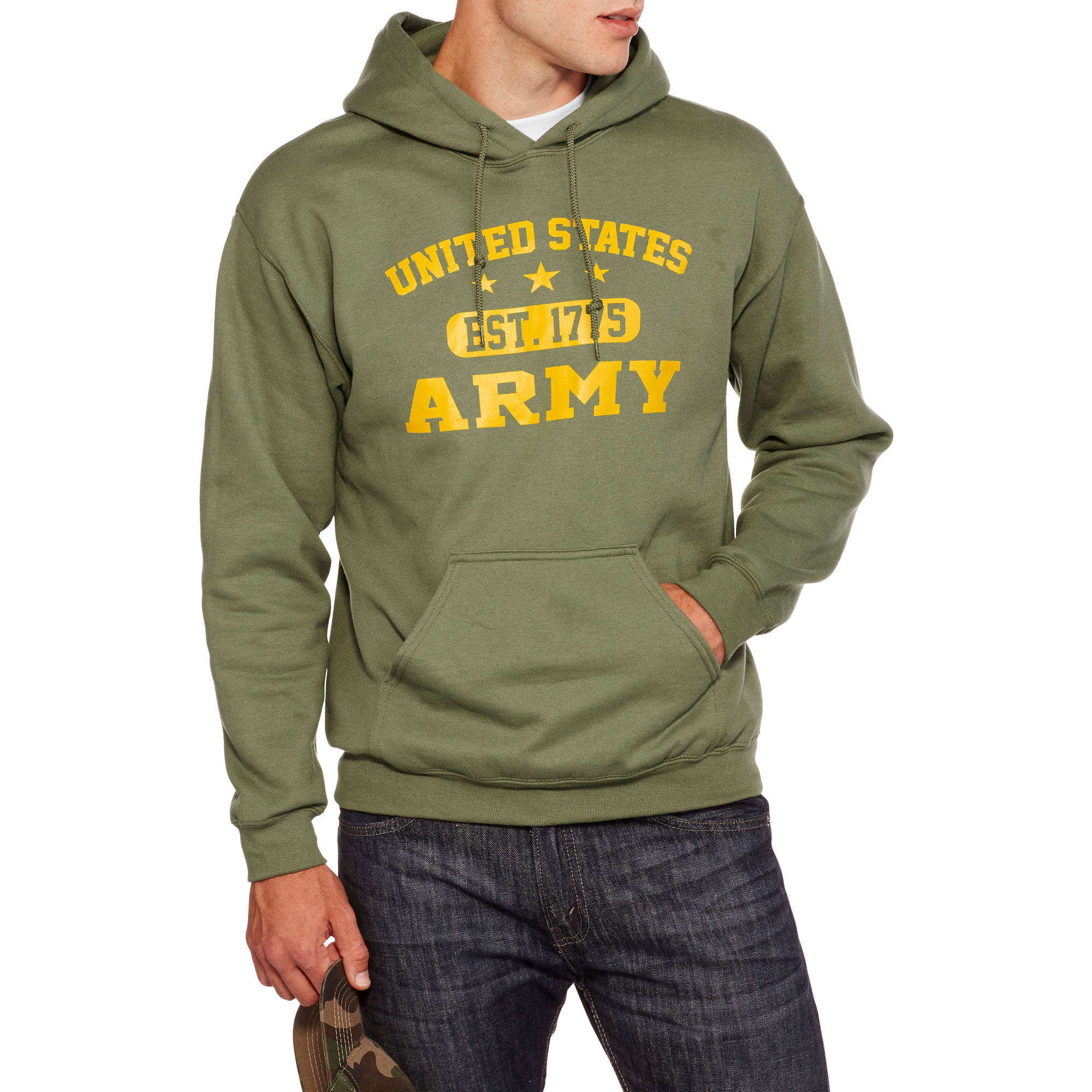 Military Officially Licensed Big Men's Army Fleece Hoodie, 2XL