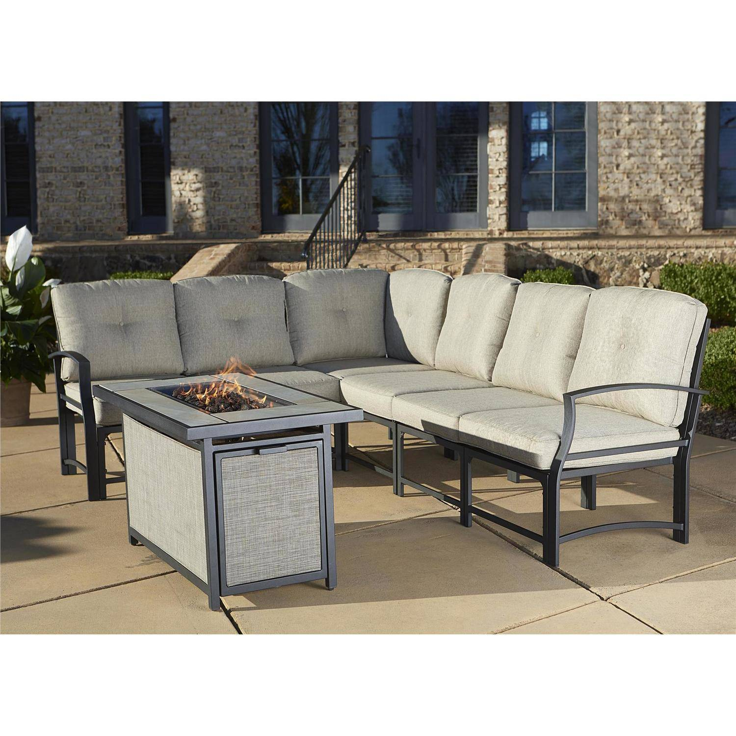 Cosco Outdoor Serene Ridge Aluminum Propane Gas Fire Pit Table With - Outdoor furniture with gas fire pit table