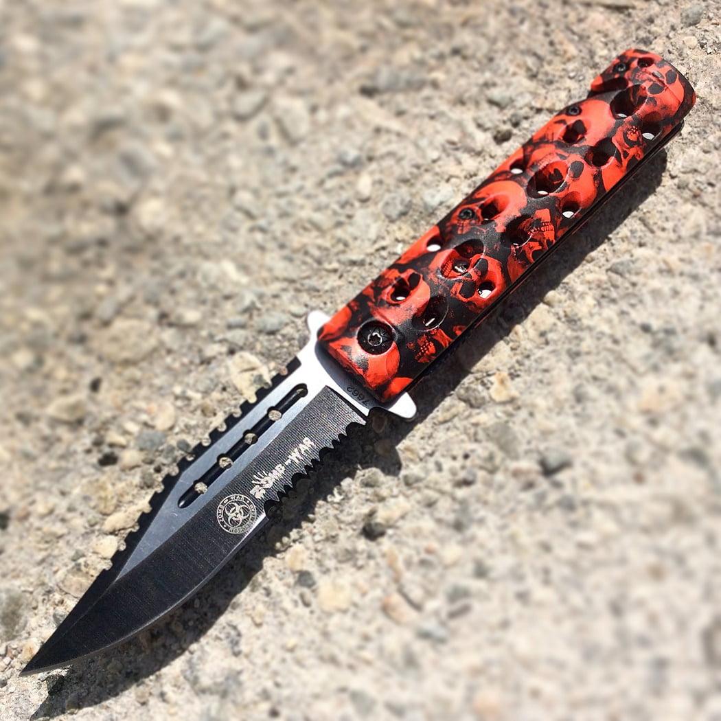 "8.5"" Zombie War Red & Black Skull Design Spring Assisted Knife w/ Glass Breaker"