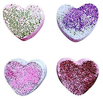 SWEET HEART Set of Four Glitter Bath Bomb by Soapie Shoppe
