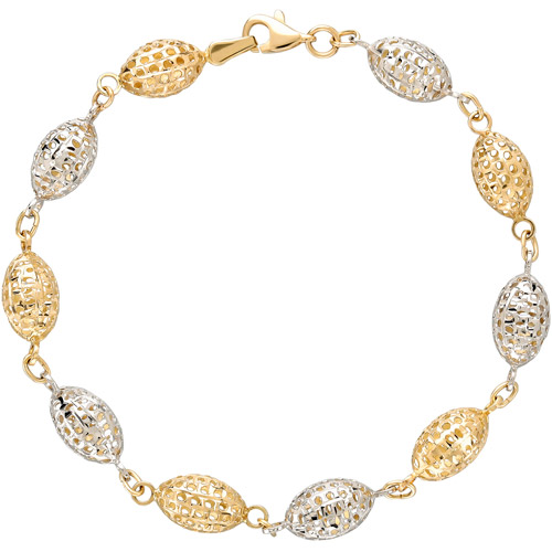 Simply Gold 14kt Yellow, White and Rose Gold Alternating Oval Mesh Beads Bracelet, 7.75""