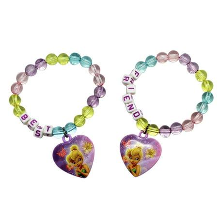 Tinkerbell Heart Charm - Disney Fairies Tinker Bell and Friends Kids Heart Charm Bracelets (2pc)