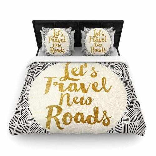 East Urban Home Pom Graphic Design Let's Travel New Roads Woven Duvet Cover