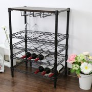 Kinbor 24 Bottle Wine Rack Storage 5-Tire Adjustable Shelf Steel Wire Kitchen Home Bar w/Glass Holder