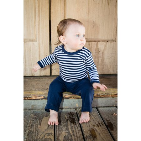 L'oved Baby Unisex Baby Organic Long Sleeve Bodysuit Stripe-a-Pose Navy/White 9-12M