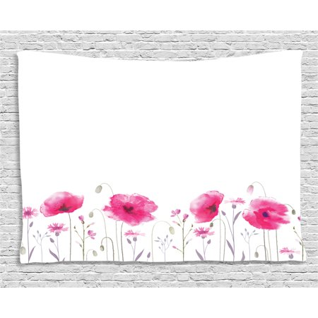 Lake House Decor Tapestry, Mass of Flower Glade with Poppy Petals Summer Garden Field Elements Artwork, Wall Hanging for Bedroom Living Room Dorm Decor, 60W X 40L Inches, Pink, by Ambesonne