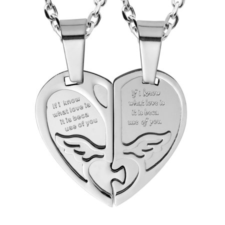 2pcs His & Hers Angel Wings Heart Couples Pendant Necklace Set with 19ג€ & 21
