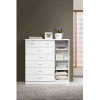 Hodedah 7-Drawer Dresser with Side Cabinet equipped with 3-Shelves, White