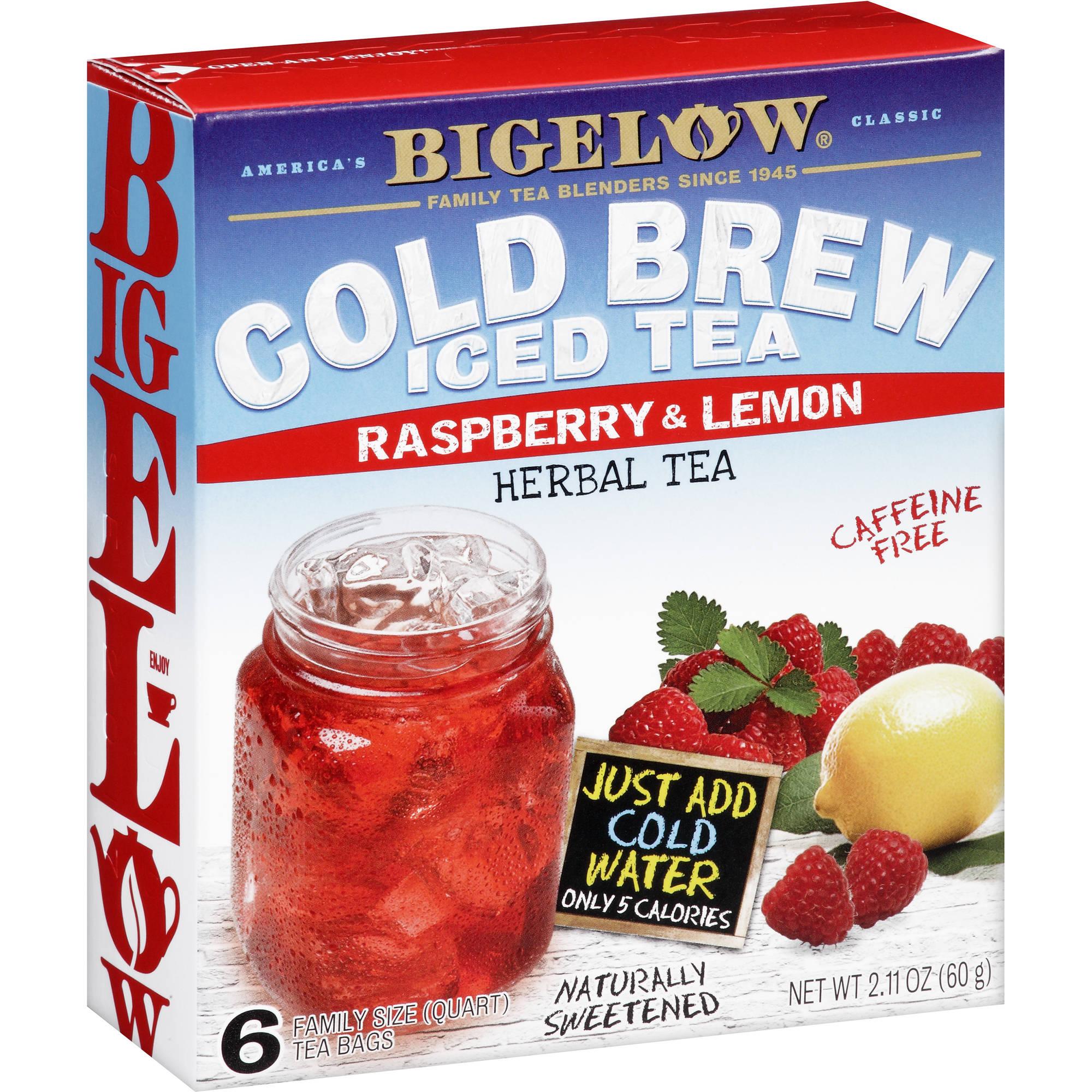 Bigelow Cold Brew Iced Tea Raspberry & Lemon Herbal Tea, 6 count, 2.11 oz