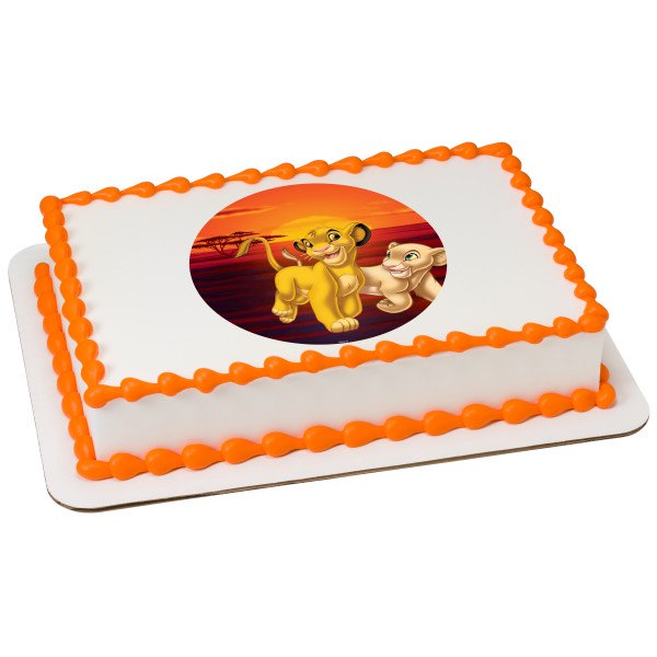 Super The Lion King Simba And Nala 7 5 Round Sheet Image Cake Topper Funny Birthday Cards Online Barepcheapnameinfo