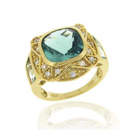 18K Gold over Sterling Silver 6.25ct Caribbean Mist CZ Square Fashion Ring