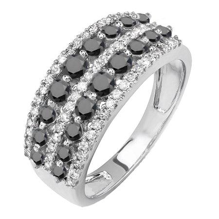 1.15 Carat (ctw) 10k White Gold Round Black And White Diamond Ladies Anniversary Wedding Band Ring (Black Gold And White Wedding)