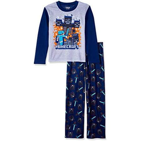 Minecraft Boys' Big Gaming 2-Piece Pajama Set, Gray, - Minecraft Erasers