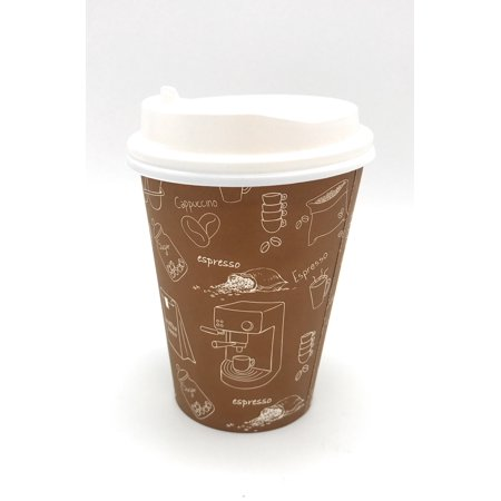- (1000 Set) HARVEST PACK Single Wall Disposable Hot Paper Cups with White Lids Brown Graphic for Hot Drinks Coffee Tea Cocoa Cappuccino Espresso latte chocolate (1000) (12OZ, Brown Graphic)