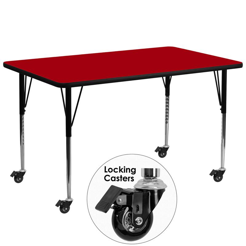 Mobile 30''W x 72''L Rectangular Red Thermal Laminate Activity Table - Standard Height Adjustable Legs