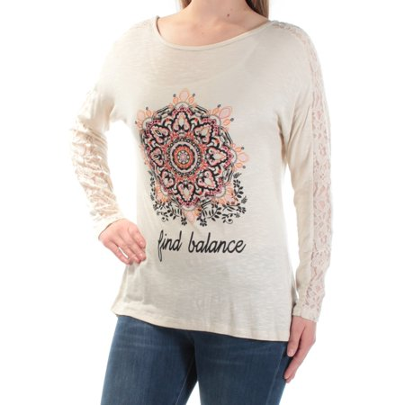 JAMIE & LAYLA Womens Beige Lace Find Balance Long Sleeve Scoop Neck Top  Size: (Jamie Lace)