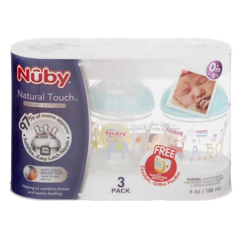 Nuby Natural Touch Infant Bottles - 3 PK, 3.0 PACK